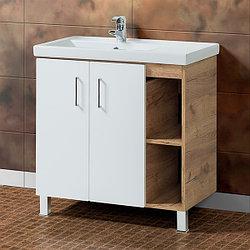Тумба для ванной с раковиной «Акваль Лофт» 80 см. черный матовый (Умывальник Фостер 80) Белый