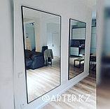 Зеркало в черной металлической раме, 5мм, 1800(В)х1000(Ш)мм, фото 3