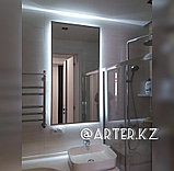 Зеркало с парящей подсветкой, в серебристой металлической раме, 20мм, 1300(В)х650(Ш)мм, фото 2