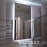 Зеркало с парящей подсветкой, в серебристой металлической раме, 20мм, 1300(В)х650(Ш)мм, фото 3