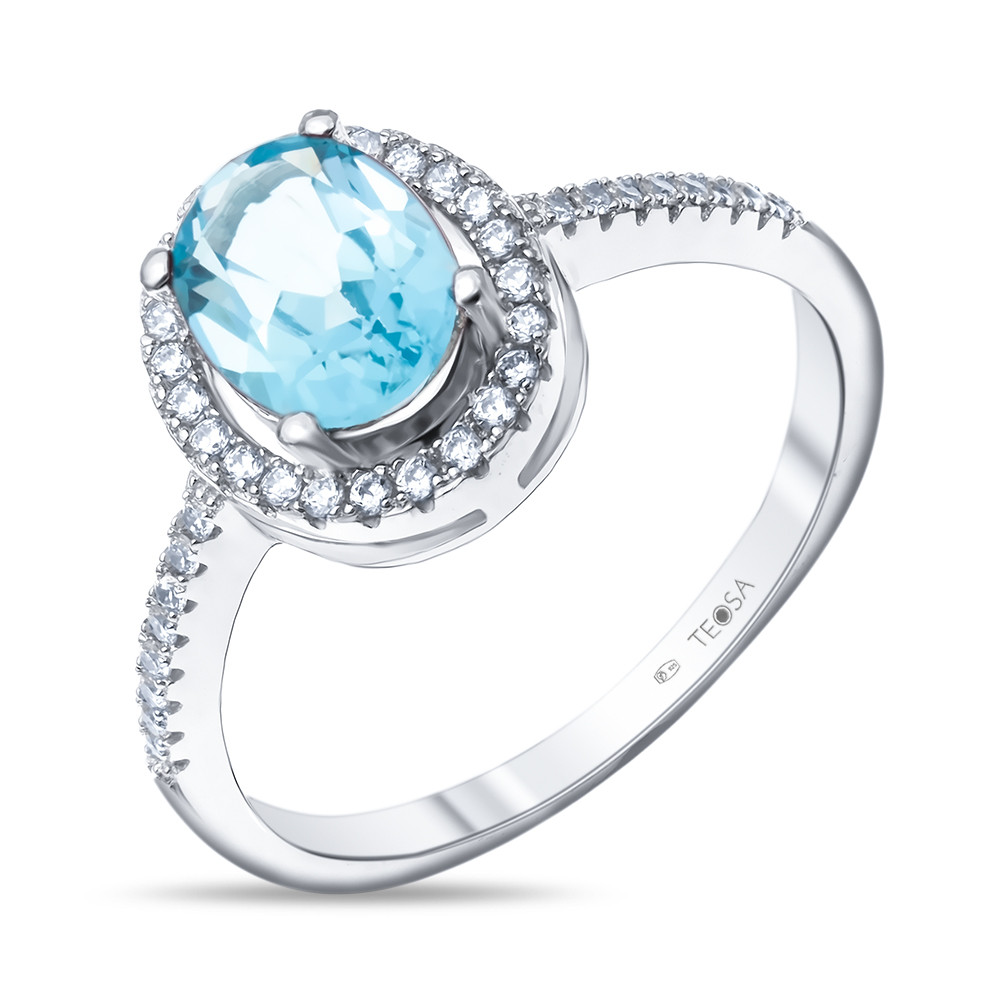 Кольцо из серебра с натуральным топазом Swiss Blue и фианитом