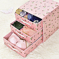 Органайзер комод 3 ящика (голубой с цветочками), фото 3