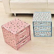Органайзер комод 3 ящика (розовый с вишней), фото 3