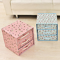 Органайзер комод 3 ящика (розовый с цветочками), фото 3