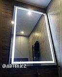 Зеркало с LED-подсветкой в черной металлической раме, 20мм, 1500(В)х1000(Ш)мм, фото 2
