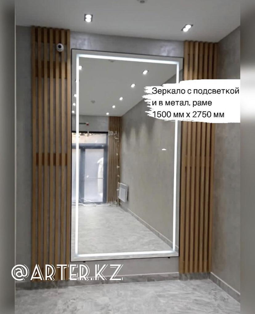 Зеркало с LED-подсветкой в черной металлической раме, 5мм, 2750(В)х1500(Ш)мм