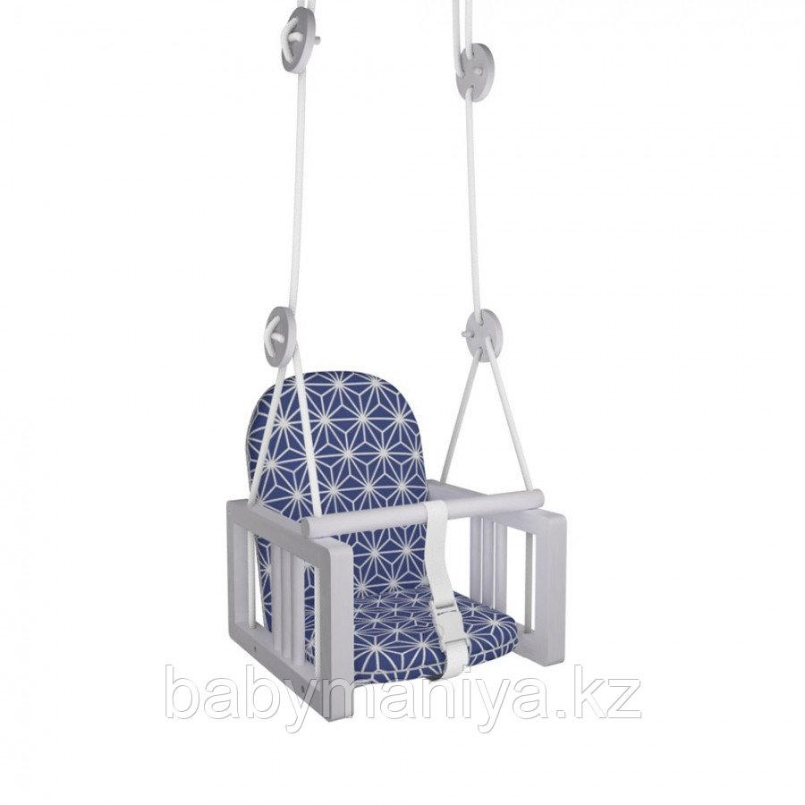 Качели Гном деревянные подвесные мягкое сиденье LiLu синий