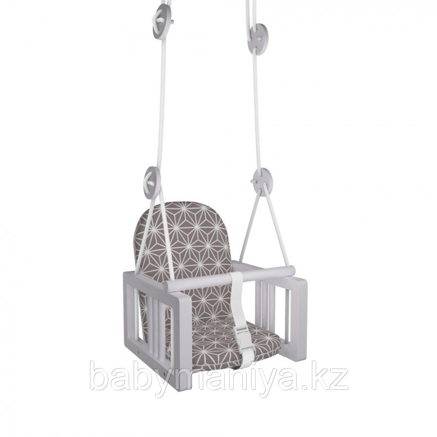 Качели Гном деревянные подвесные мягкое сиденье LiLu коричневый