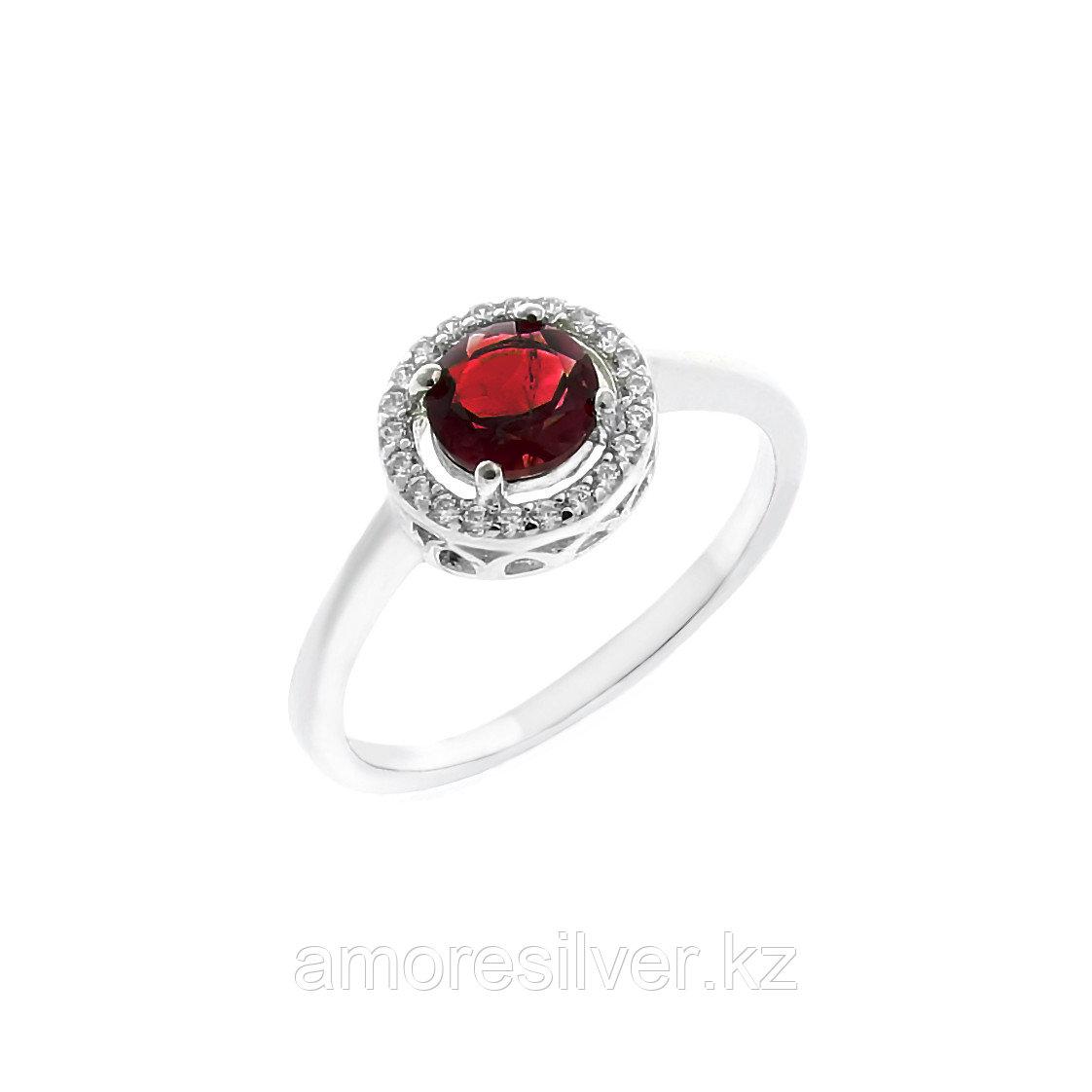 """Кольцо TEOSA серебро с родием, гранат фианит, """"halo"""" R-DRGR00485-GR"""