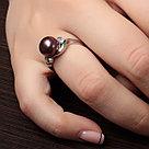 """Кольцо ЮК """"Серебро"""" серебро с родием, жемчуг черный культ. фианит, многокаменка MR3171-BL, фото 2"""