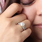 "Кольцо TEOSA серебро с родием, жемчуг культ. фианит, ""halo"" PRLJR00726-W, фото 2"