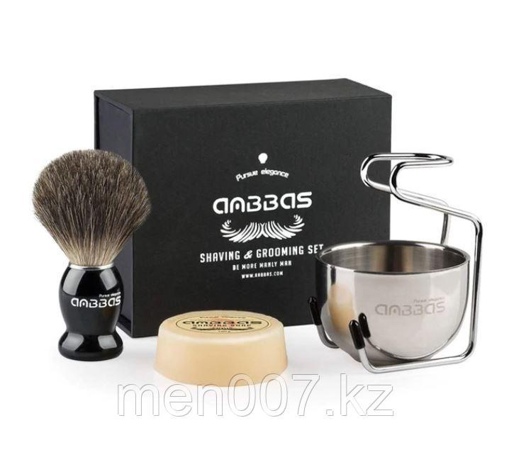 Набор для бритья Anbbas 4 в 1 помазок из барсучего ворса, мыло, стойка и чаша