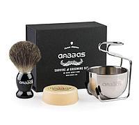 Anbbas 4 в 1 Набор для бритья (помазок из барсучего ворса, мыло, стойка и чаша)