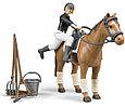 Bruder Набор для скачек, Фигурка всадница на лошади с инструментами, Брудер 62-505, фото 3