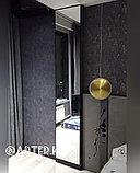 Зеркало в черной металлической раме, 5мм, 2464(В)х465(Ш)мм, фото 2