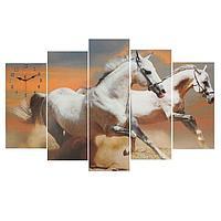 Часы настенные модульные «Пара лошадей», 80 × 140 см