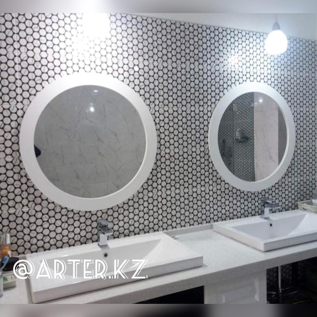 Зеркало круглое в белой раме МДФ, d=750мм