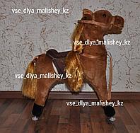 Качалка-лошадка Pituso с колёсами, длинная грива, коричневый