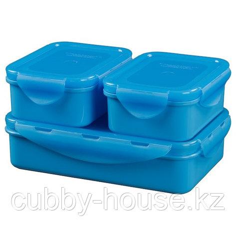 FULLASTAD ФУЛЛАСТАД Контейнер для продуктов, 3 шт., синий, фото 2