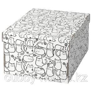 SMEKA СМЕКА Коробка с крышкой, белый/кот26x32x17 см, фото 2