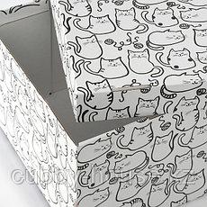SMEKA СМЕКА Коробка с крышкой, белый/кот26x32x17 см, фото 3