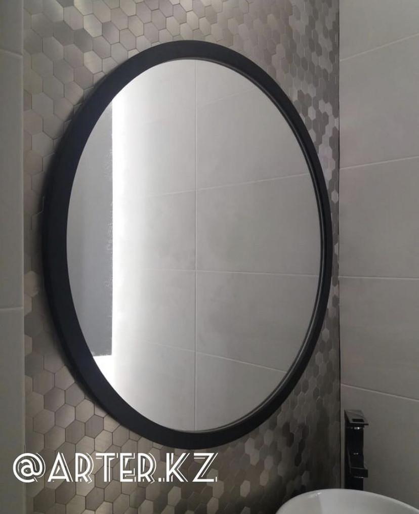 Круглое зеркало в черной раме МДФ, d=800мм