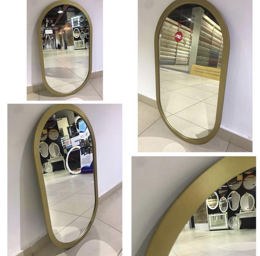 Зеркало полуовальное в золотистой раме МДФ, 900(В)х510(Ш)мм