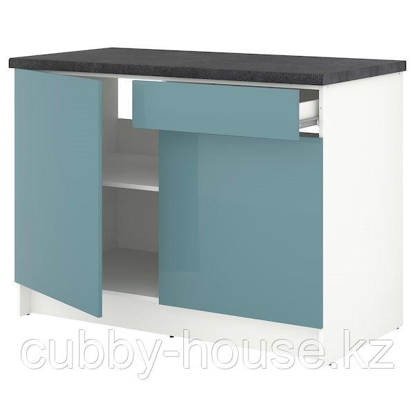 KNOXHULT КНОКСХУЛЬТ Напольный шкаф с дверцами и ящиком, глянцевый/синяя бирюза120 см