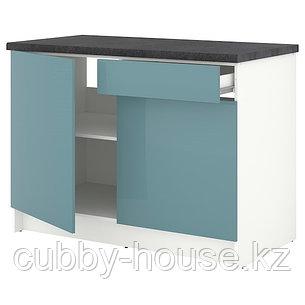 KNOXHULT КНОКСХУЛЬТ Напольный шкаф с дверцами и ящиком, глянцевый/синяя бирюза120 см, фото 2