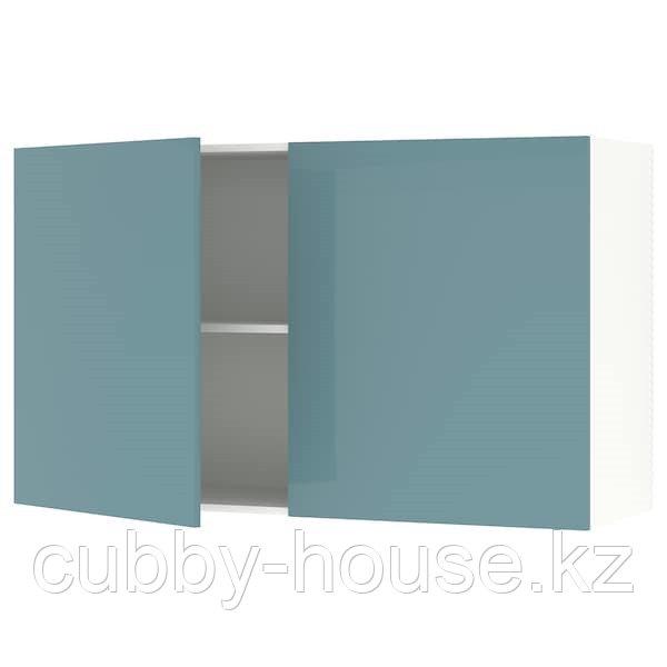 KNOXHULT КНОКСХУЛЬТ Навесной шкаф с дверями, глянцевый/синяя бирюза120x75 см