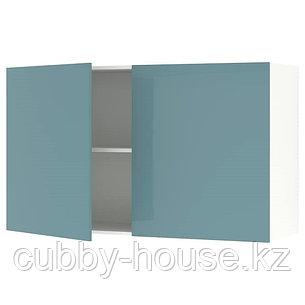 KNOXHULT КНОКСХУЛЬТ Навесной шкаф с дверями, глянцевый/синяя бирюза120x75 см, фото 2