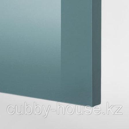 KNOXHULT КНОКСХУЛЬТ Навесной шкаф с дверцей, глянцевый/синяя бирюза40x75 см, фото 2