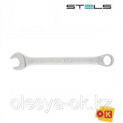 Ключ комбинированный 19 мм, 12-гранный, матовый хром. STELS, фото 2