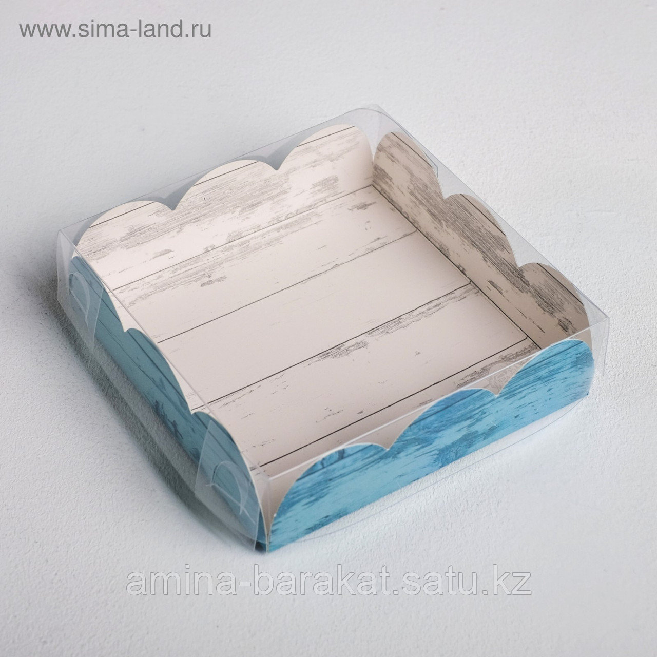 Коробка для кондитерских изделий с PVC-крышкой «Вкусно», 10,5 × 10,5 × 3 см