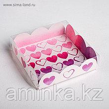 Коробка для кондитерских изделий с PVC-крышкой «С Любовью», 10,5 × 10,5 × 3 см