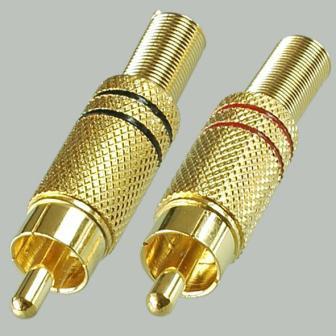 Разъём штекер RCA металл Gold, под винт