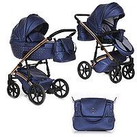 Детская коляска Pituso Cristal 2 в 1 кожа Синяя