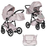 Детская коляска Pituso Cristal 2 в 1 кожа Розовая