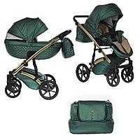 Детская коляска Pituso Cristal 2 в 1 кожа Зеленый