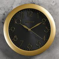 Часы настенные круглые 'Золотая классика', накладные цифры, чёрный циферблат