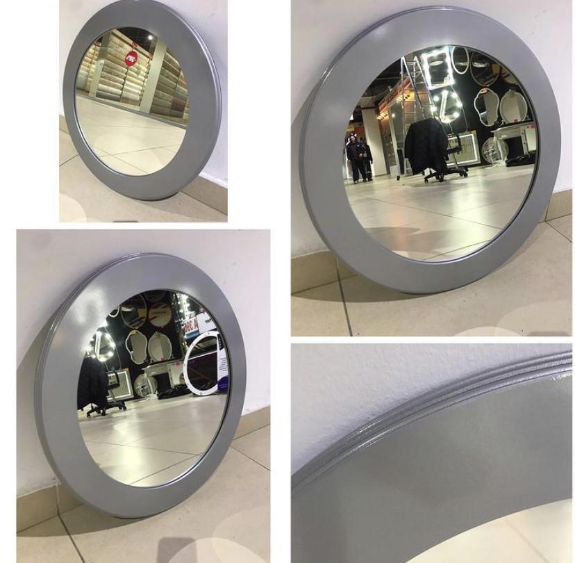 Зеркало круглое в серебристой раме МДФ, 70мм, d=580мм