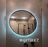 Зеркало круглое с парящей подсветкой в черной раме МДФ, d=600мм, фото 2