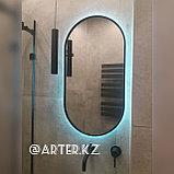 Зеркало полуовальное с парящей подсветкой в черной раме МДФ, 850(В)х450(Ш)мм, фото 2