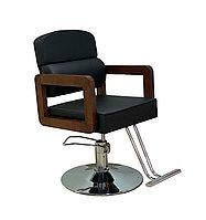 AS-3366 Кресло парикмахерское c деревянными подлокотниками (черное, гладкое)