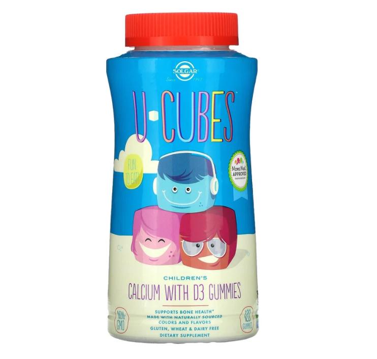 Solgar, U-Cubes, детский кальций с витамином D3, розовый лимонад, со вкусом голубики и клубники, 120 жевательн