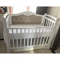 Детская кроватка Антел Джулия корона 111 с мягкой стенкой маятник универсальный, Белый