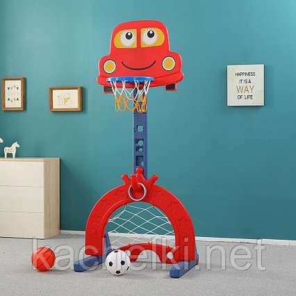 Стойка баскетбольная Pituso МАШИНКА (с кольцебросом, футб.воротами) RED/красный (71*178h)