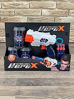 Игровой набор пистелет бластер HERO X + 3 банки мишени