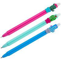 """Ручка гелевая стираемая автоматическая MESHU """"Cactus"""" синяя, 0,5мм, корпус ассорти"""