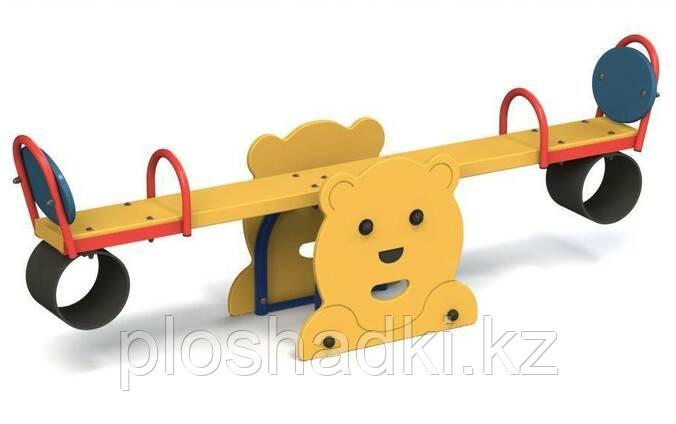 """Детский балансир """"Мишка"""", дерево, желтый, красный, синий."""